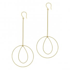 Earrings in silver 925 yellow gold  plated (10.5cm total lenght, circle size 4 cm) - Funky Metal