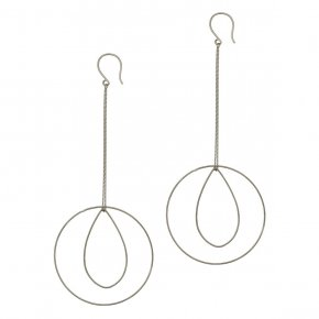Earrings in silver 925 rhodium plated (10.5cm total lenght, circle size 4 cm) - Funky Metal