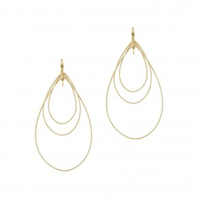 Earrings in silver 925 yellow gold plated (8cm total lenght, drop size 6 cm x 4 cm) - Funky Metal