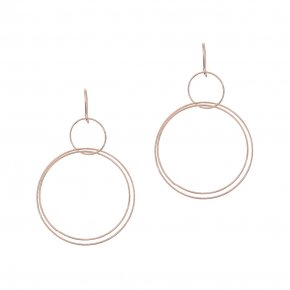 Earrings in silver 925 pink gold plated (7cm total lenght, circle size 4 cm) - Funky Metal
