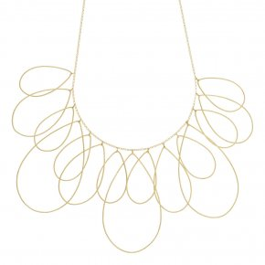 Necklace silver 925 yellow gold plated ( big drop size 6cm x 4 cm) - Outopia