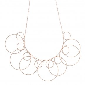 Necklace silver 925 pink gold plated ( big circle size 4 cm) - Funky Metal