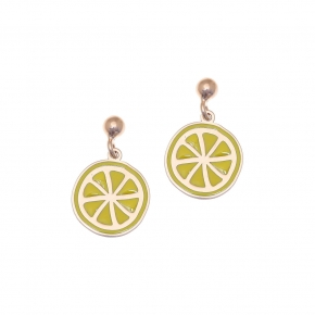 Earrings silver 925 rose gold plated with enamel - Tropical