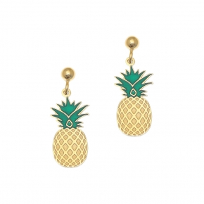 Earrings silver 925 Yellow gold plated with enamel - Tropical