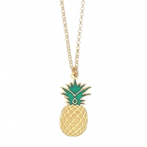 Necklace silver 925 yellow gold plated with enamel - Tropical