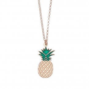 Necklace silver 925 rose gold plated with enamel - Tropical