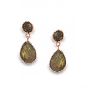 Earrings Silver 925 pink gold plated with labradorite - Color Me