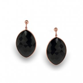 Earrings silver 925, pink gold plated with onyx - Color Me