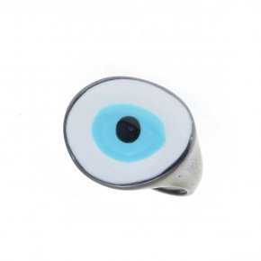 Ring silver 925 black rhodium plated & with enamel evil eye - Wish Luck