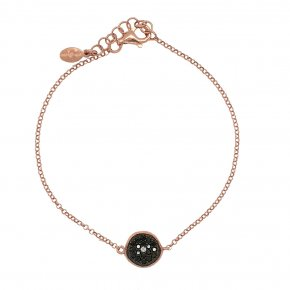 Bracelet silver 925 pink gold plated & with black spinels - WANNA GLOW