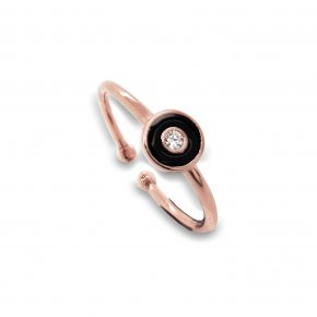 Ring silver 925 rose gold plated with enamel - Simply Me