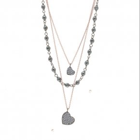 Necklace silver 925 pink gold plated with black rodium plated and white zirconia - WANNA GLOW