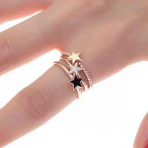 Ring silver 925 pink gold plated with enamel and white zirconia - Simply Me