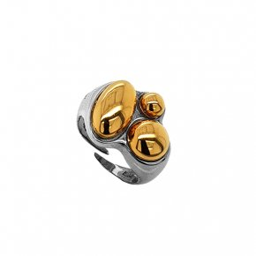 Ring silver 925 rhodium plated with yellow gold plated - Funky Metal