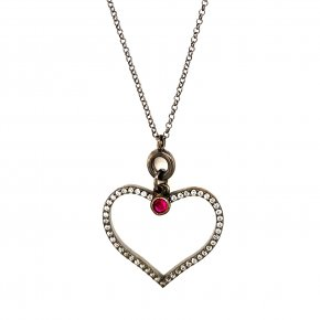 Necklace silver 925 black rodium plated with red zirconia - Color Me