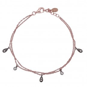 Bracelet silver 925 pink gold plated with black rhodium plated and white zirconia - Simply Me
