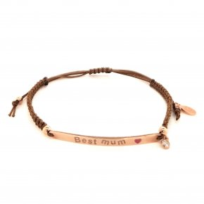 Bracelet silver 925 pink gold plated with enamel and cord (Best Mum) - Wish Luck
