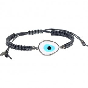 Bracelet silver 925 black rhodium plated & with enamel evil eye and cord - Wish Luck