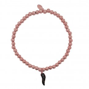 Bracelet silver 925 pink gold plated & with black zirconia - Color Me