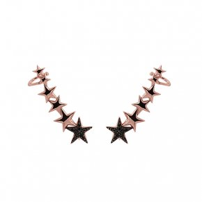 Earrings silver 925 pink gold plated & with black zirconia - WANNA GLOW