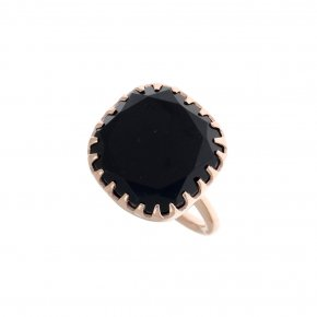 Ring silver 925 pink gold plated with onyx - Color Me