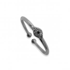 Ring silver 925 black rhodium plated with white zirconia - Simply Me
