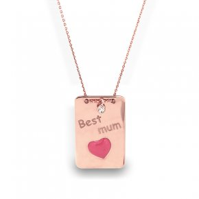 Necklace silver 925 Pink gold plated with wtite zirconia and enamel - Wish Luck