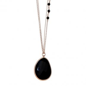 Necklace in silver 925 pink gold plated with onyx - Color Me