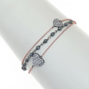 Bracelet silver 925 pink gold plated with black rodium plated - WANNA GLOW