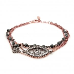 Necklace silver 925 pink gold plated with black rhodium plated - WANNA GLOW