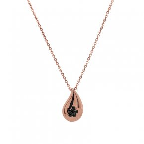 Necklace silver 925 pink gold plated with black zirconia - WANNA GLOW
