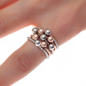 Ring silver 925 three tone plated - Simply Me