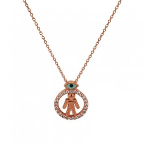 Necklace silver 925 pink gold plated with white zirconia and enamel - Wish Luck
