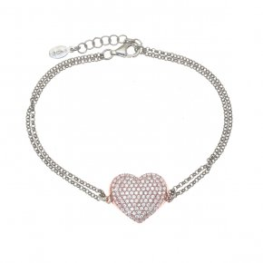 Bracelet silver 925 pink gold plated with white zirconia - WANNA GLOW