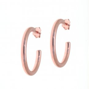 Earrings in silver 925 pink gold plated (diameter 2 cm, 0,3 cm thick) - Funky Metal