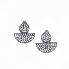 Earrings in silver 925 black rhodium plated with white zirconia - WANNA GLOW