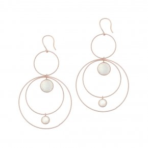 Earrings silver 925 pink gold plated & with moonstone - Color Me