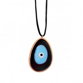 Necklace silver 925 pink gold plated & with enamel evil eye and cord - Wish Luck