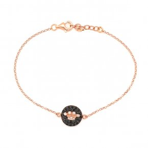 Bracelet silver 925 pink gold plated & with white zirconia and black spines - WANNA GLOW