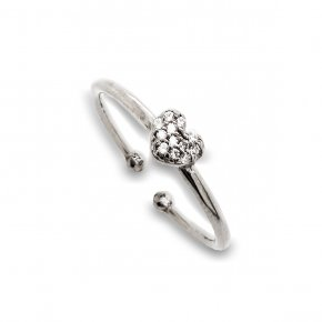 Ring silver 925 rodium plated with white zirconia - Simply Me