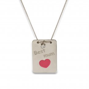 Necklace silver 925 rhodium plated with white zirconia and enamel - Wish Luck