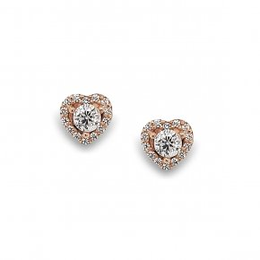 Earrings silver 925 Pink Plated With White Zirconia - Simply Me