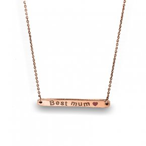 Necklace silver 925 Pink gold plated and enamel - Wish Luck