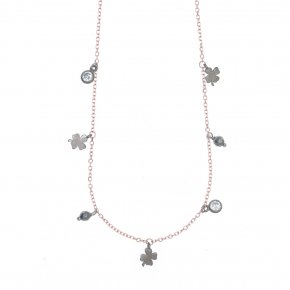 Necklace silver 925 pink gold plated with black rodium plated - Simply Me