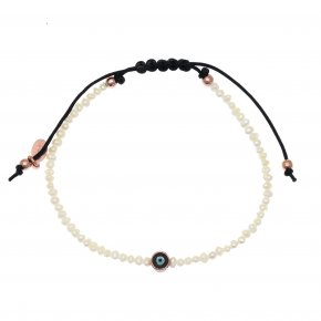 Bracelet silver 925 rose gold plated & with enamel evil eye  with cord - Wish Luck
