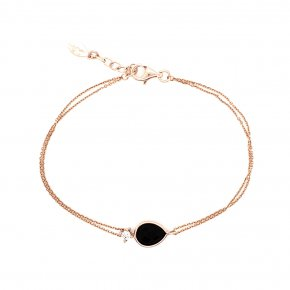 Bracelet in silver 925 pink gold plated with onyx and white zirconia - Color Me