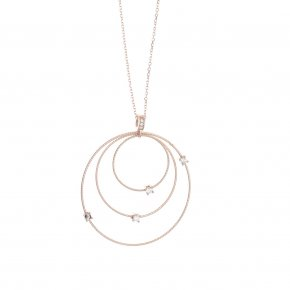 Necklace silver 925 pink gold plated with white zirconia - Funky Metal