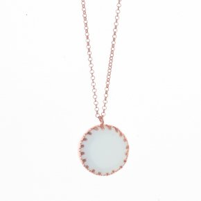 Necklace silver 925 pink gold plated with white agate - Color Me