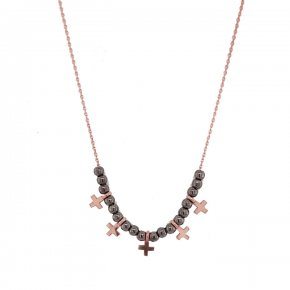 Necklace silver 925 pink gold plated with black rhodium plated and white zirconia - Simply Me