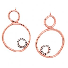 Earrings silver 925 pink gold plated with white zirconia - Funky Metal